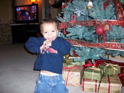 Aiden get's excited about the gifts he is about to receive